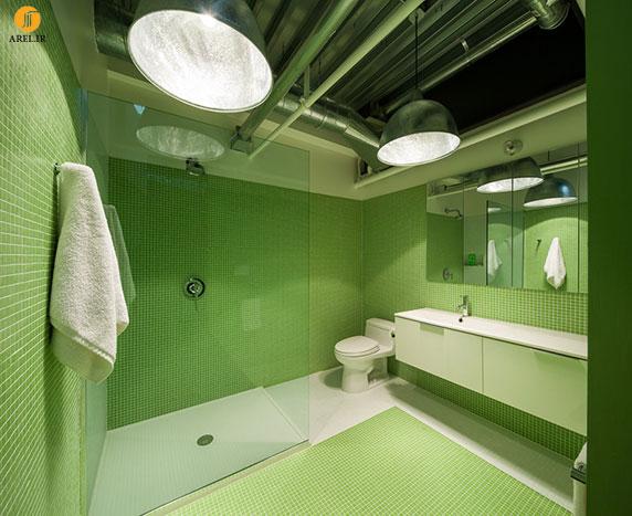 طراحی جزئی: دکوراسیون سرویس بهداشتی درون دیوارهایی با پرچ های چوبی