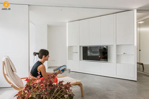 استفاده از دیوار متحرک برای طراحی داخلی این آپارتمان کوچک
