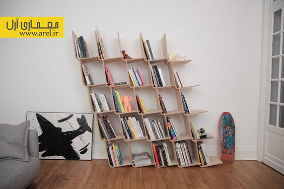 طراحی قفسه ی کتاب چوبی با قطعات ساده L شکل