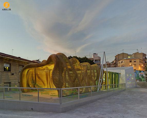 طراحی سردر ورودی چوبی برای رستوران