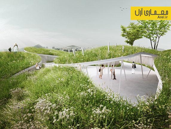 استفاده از خطوط موج دار برای طراحی فضای سبز در نمایشگاه طراحی باغ 2015 چین