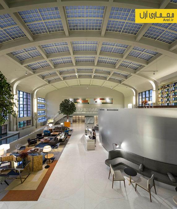 طراحی داخلی لابی هتل در ساختمان  قدیمی یک کارخانه