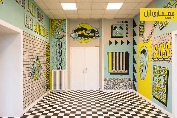 طراحی داخلی کلینیک دندانپزشکی با طرح های گرافیکی پانک و راک!