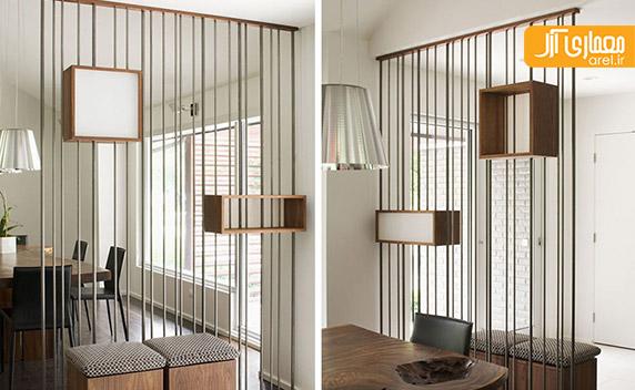 طراحی جزئی جداکننده ی فلزی و چوبی، ساده و کاربردی آرل