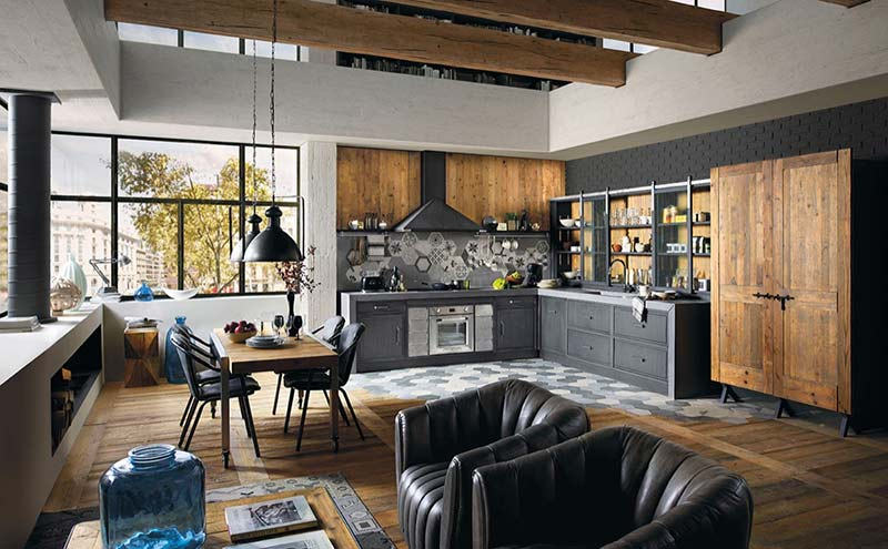 طراحی داخلی آشپزخانه به سبک صنعتی