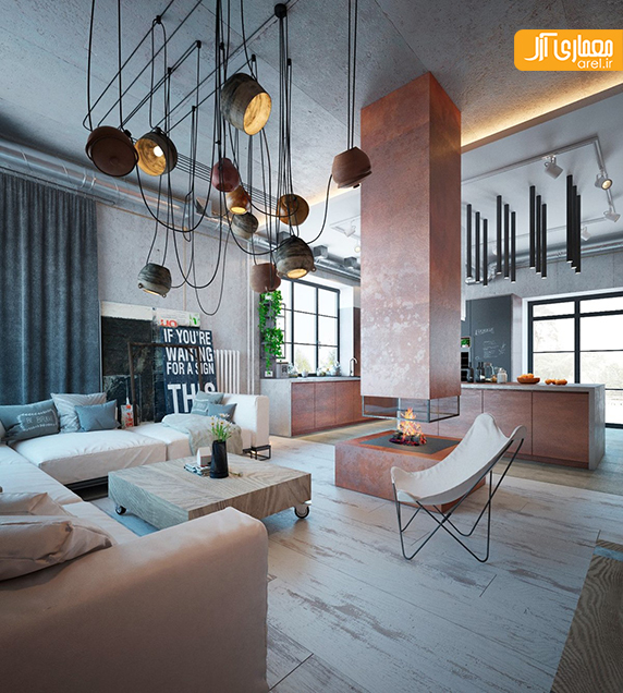 Industrial House Design And Decor For Stylish Appearance: طراحی داخلی به سبک صنعتی و رنگ های گرم