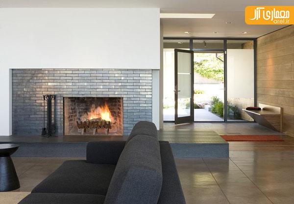 ایده هایی از طراحی نمای شومینه در اتاق پذیرایی آرل