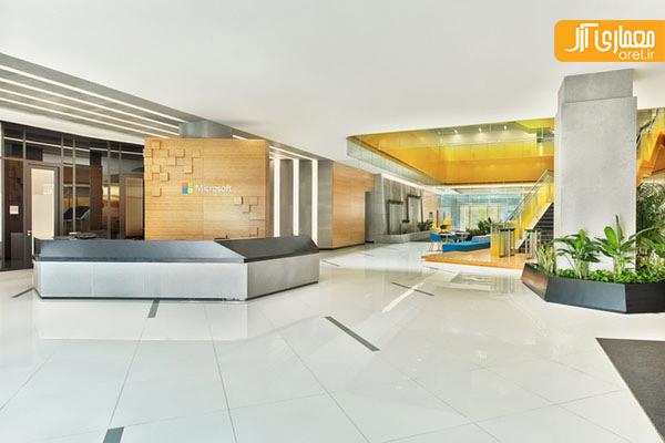 رنگ های پر انرژی، پیشتاز در طراحی داخلی دفتر کار مایکروسافت