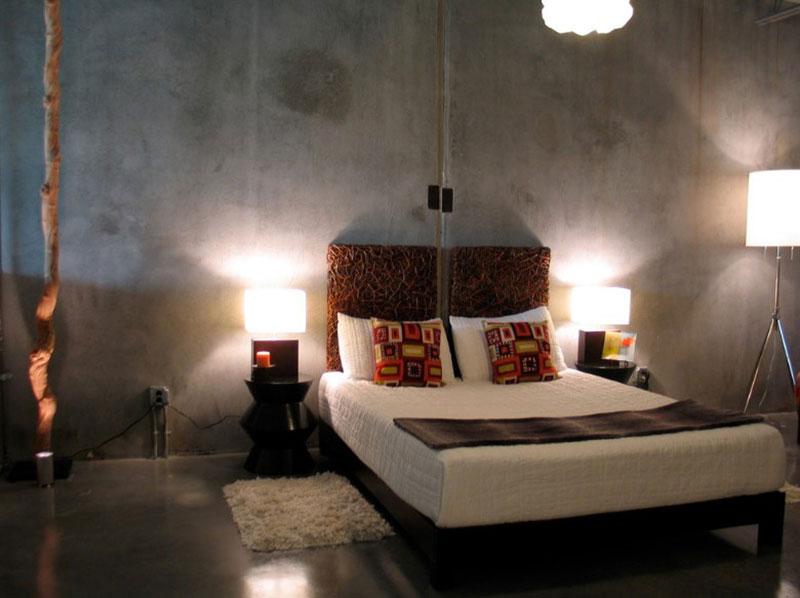طراحی داخلی اتاق خواب با دیوار بتنی