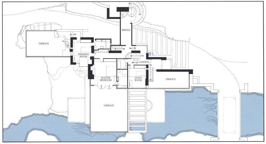 پلان خانه آبشار اثر فرانک لوید رایت