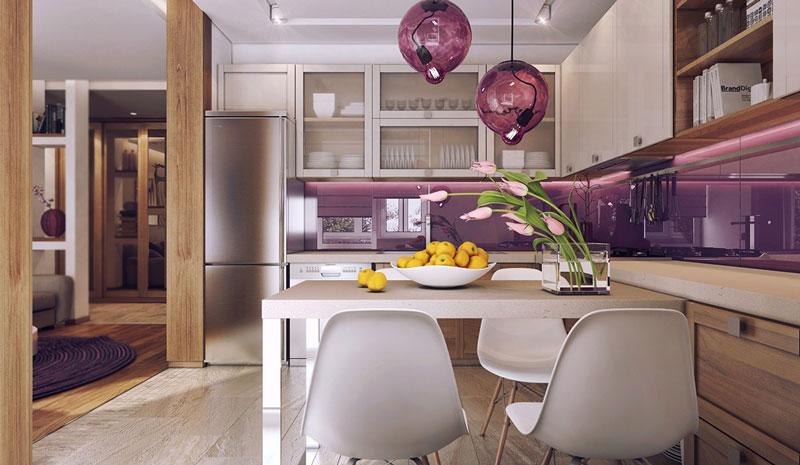 رنگ بنفش در طراحی داخلی آپارتمان 70 متری
