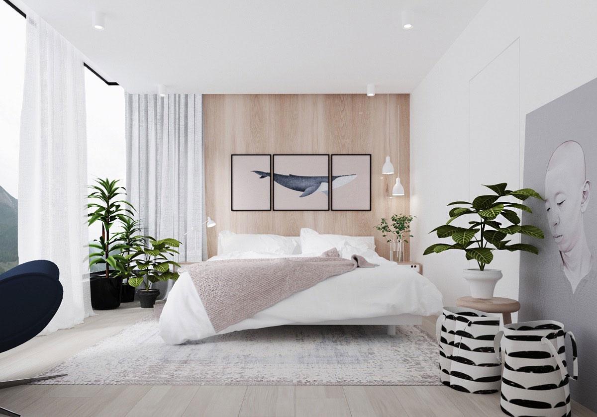 دکوراسیون داخلی اتاق خواب مدرن به رنگ سفید