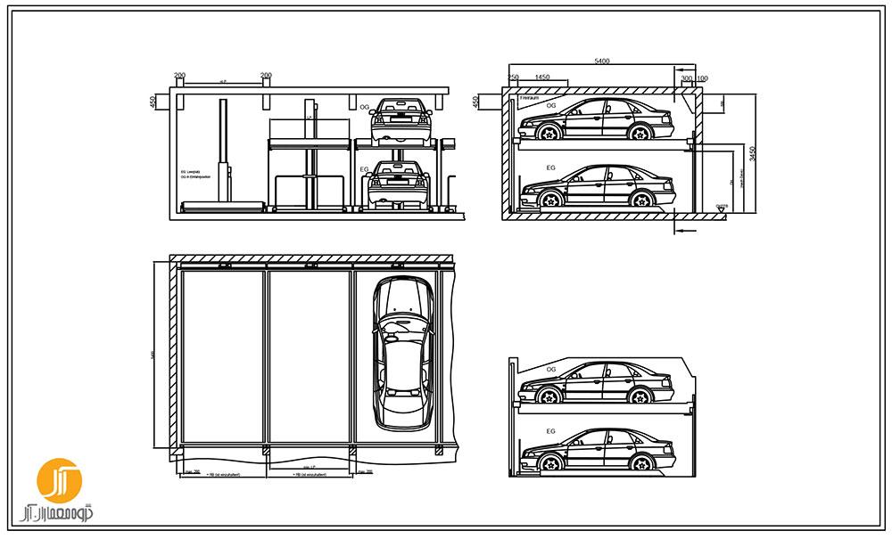 دانلود پکیج ضوابط و بلاک اتوکد پارکینگ به همراه نمونه موردی
