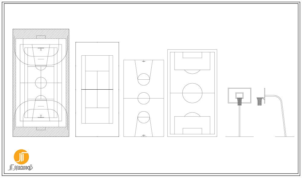 دانلود پکیج ضوابط و بلاک اتوکد سالن های ورزشی به همراه نمونه موردی