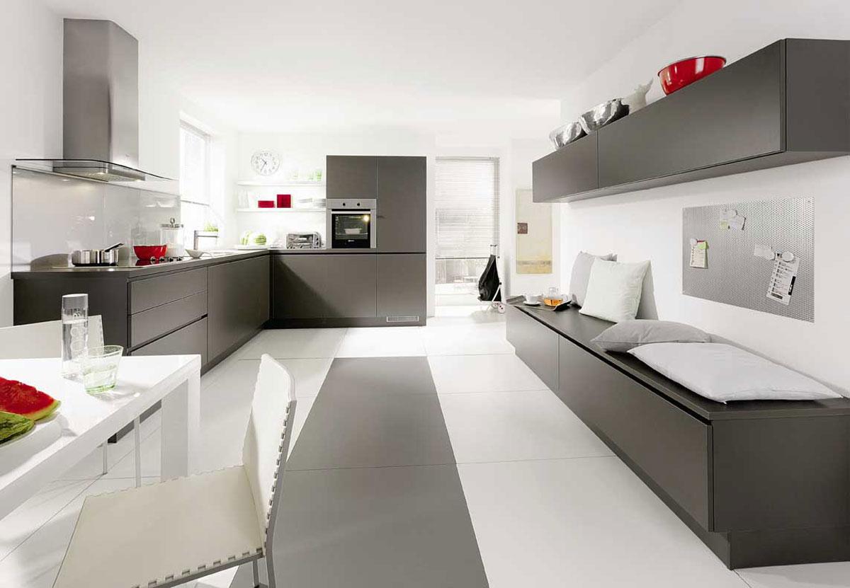 طراحی آشپزخانه سفید و خاکستری