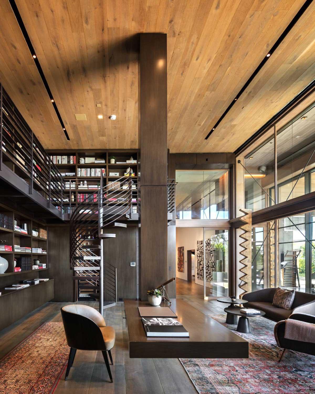 طراحی کتابخانه دو طبقه