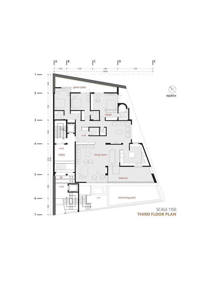 پلان مسکونی طبقه سوم