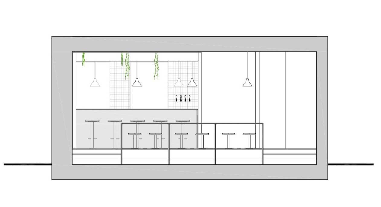 برش عرضی طراحی رستوران