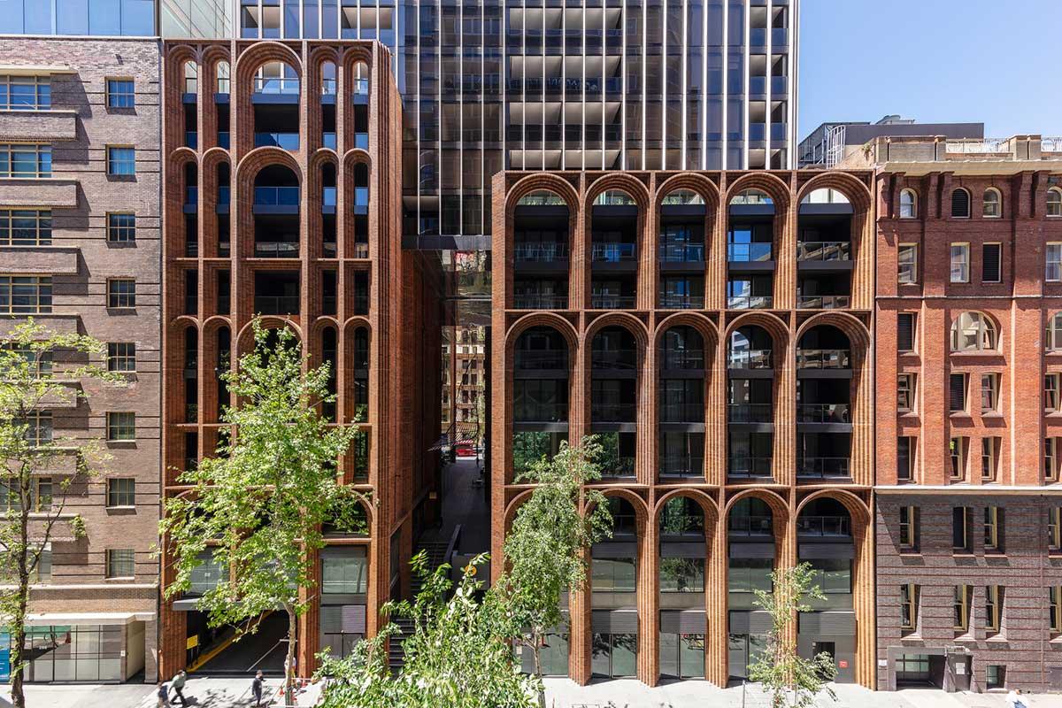 طراحی نمای آجری برج مسکونی