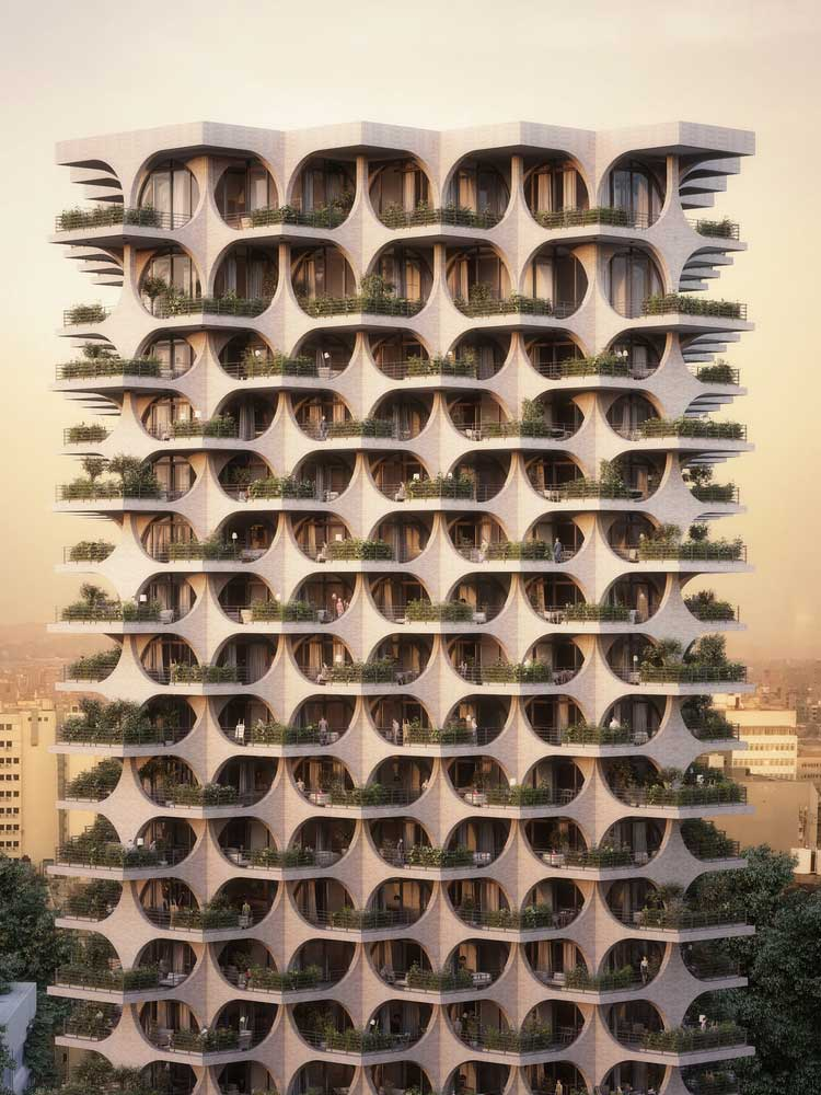 برج مسکونی آجری