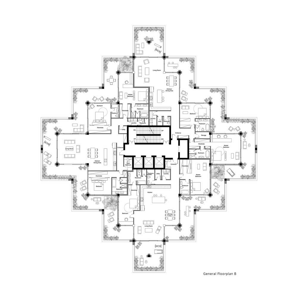 پلان برج مسکونی آجری