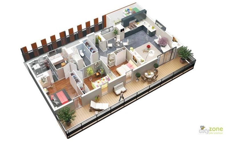 پلان سه بعدی 48 آپارتمان سه خوابه آرل