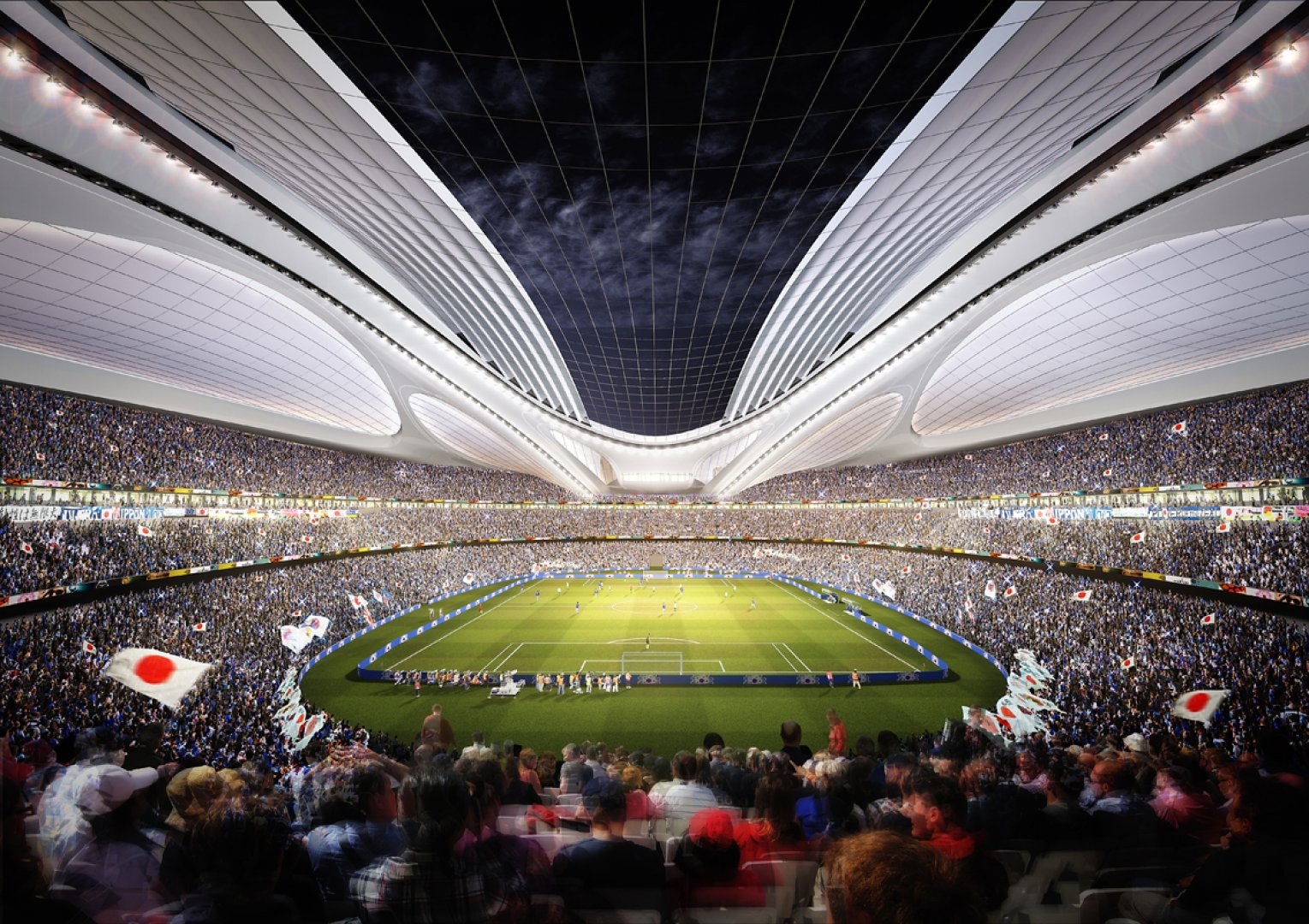 ژاپن میزبان المپیک 2020،طرح زاها حدید برای استادیوم دهکده المپیک ژاپن