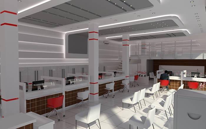 طراحی داخلی بانک ملت،شعبه ی بندرگز